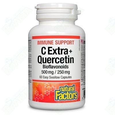 NATURAL FACTORS / ВИТАМИН С 500 мг + КВЕРЦЕТИН БИОФЛАВОНОИДИ 250 мг Х 60