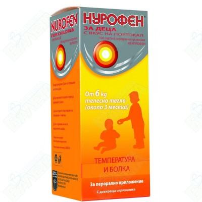 НУРОФЕН ЗА ДЕЦА СУСПЕНЗИЯ 100 мг/5 мл 100 мл ПОРТОКАЛ