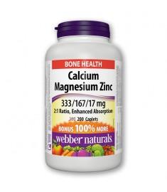 КАЛЦИЙ - МАГНЕЗИЙ И ЦИНК / CALCIUM - MAGNESIUM - ZINC Х200 КАПЛЕТИ - WEBBER NATURALS 3867