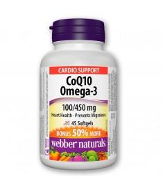КОЕНЗИМ Q10 100MG + OMEGA-3 450MG / COQ10 & OMEGA-3 X45 СОФТГЕЛ КАПСУЛИ - WEBBER NATURALS 3897